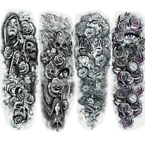 billige Midlertidige tatoveringer-4 pcs Tatoveringsklistremerker midlertidige Tatoveringer Tegneserie-serien kropps~~POS=TRUNC Ansikt / Krop / hender
