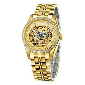voordelige Merk Horloge-CADISEN Heren Skeleton horloge mechanische horloges Japans Roestvrij staal Wit / Goud 50 m Waterbestendig Hol Gegraveerd imitatie Diamond Analoog Luxe Skelet - Goud Goud / White