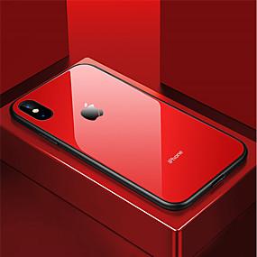 abordables Coques d'iPhone-Coque Pour Apple iPhone X / iPhone 8 Antichoc / Miroir Coque Couleur Pleine Dur Verre Trempé pour iPhone X / iPhone 8 Plus / iPhone 8