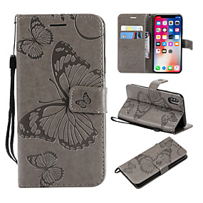 abordables Coques d'iPhone-Coque Pour Apple iPhone X / iPhone 8 Plus Portefeuille / Porte Carte / Avec Support Coque Intégrale Papillon Dur faux cuir pour iPhone X / iPhone 8 Plus / iPhone 8
