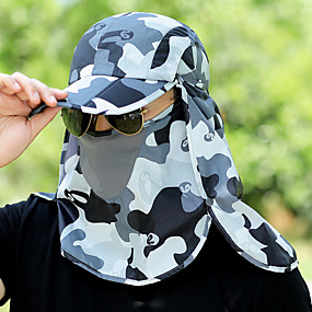 billige Sportstøj-Trekking-kasket Anti-forurening maske Hat camouflage Letvægt UV-resistent Hurtigtørrende Forår Sommer Army Grøn Blå Lys pink Unisex Jagt Fiskeri Vandring camouflage / Elastisk