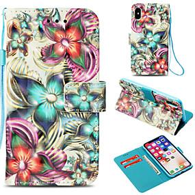 abordables Coques d'iPhone-Coque Pour Apple iPhone X / iPhone 8 Plus Portefeuille / Porte Carte / Avec Support Coque Intégrale Fleur Dur faux cuir pour iPhone X / iPhone 8 Plus / iPhone 8