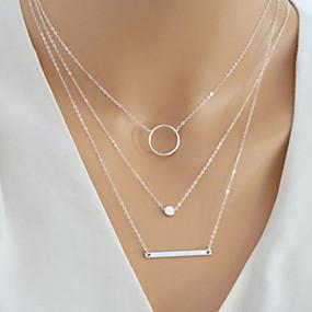 billige Lagvise halskjeder-Dame lagdelte Hals Multi Layer Bar Karma halskjede Enkel Europeisk Mote Legering Gull Sølv 40 cm Halskjeder Smykker 1pc Til Daglig