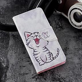 abordables Coques d'iPhone-Coque Pour Apple iPhone X / iPhone 8 Plus Portefeuille / Porte Carte / Avec Support Coque Intégrale Chat Dur faux cuir pour iPhone X / iPhone 8 Plus / iPhone 8