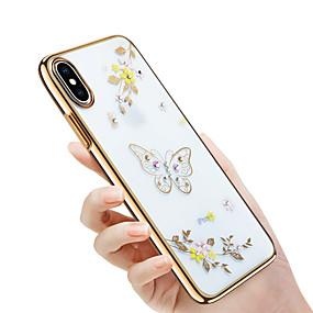 abordables Coques d'iPhone-Coque Pour Apple iPhone X / iPhone 8 Strass / Plaqué / Relief Coque Papillon / Brillant / Fleur Dur PC pour iPhone X / iPhone 8 Plus / iPhone 8