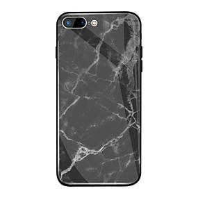 olcso iPhone tokok-Case Kompatibilitás Apple iPhone X / iPhone 8 Plus Tükör / Minta Fekete tok Márvány Kemény TPU / Hőkezelt üveg mert iPhone X / iPhone 8 Plus / iPhone 8