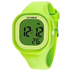 voordelige Merk Horloge-SYNOKE Heren Dames Sporthorloge Digitaal horloge Digitaal Silicone Zwart / Wit / Blauw 50 m Waterbestendig Kalender Chronograaf Digitaal Modieus - Groen Blauw Roze / Stopwatch / s Nachts oplichtend