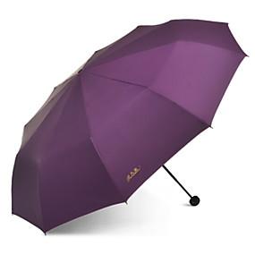 Недорогие Защита от дождя-Полиэстер / Нержавеющая сталь Все Солнечный и дождливой Складные зонты