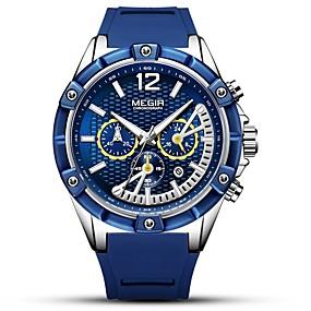 Недорогие Фирменные часы-MEGIR Муж. Спортивные часы Японский Кварцевый силиконовый Черный / Синий 30 m Защита от влаги Календарь Секундомер Аналоговый На каждый день Мода - Черный Синий Розовое золото / Фосфоресцирующий