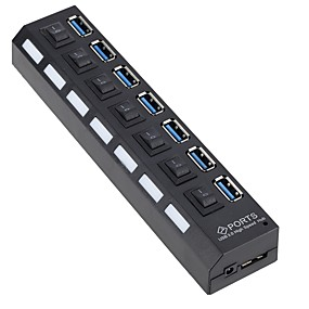 preiswerte USB Hubs & Switches-EU Stecker / US Stecker to USB 3.0 USB-Hub 7 Häfen High-Speed / Mit Switch (es)