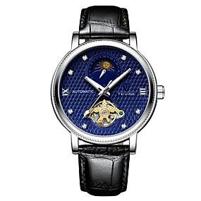 Недорогие Фирменные часы-Tevise Муж. Механические часы Японский С автоподзаводом Натуральная кожа Черный 30 m Защита от влаги С гравировкой Фосфоресцирующий Аналоговый На каждый день Мода - Черный Черный / Синий / Фаза луны