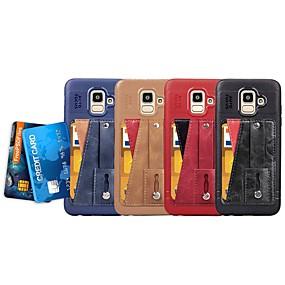 voordelige Galaxy J3(2017) Hoesjes / covers-hoesje Voor Samsung Galaxy J6 (2018) / J5 (2017) / J4 Kaarthouder / met standaard / Ringhouder Achterkant Effen Zacht PU-nahka / Ultradun