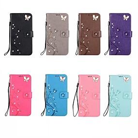 abordables Coques d'iPhone-Coque Pour Apple iPhone XR / iPhone XS Max Porte Carte / Strass / Clapet Coque Intégrale Papillon / Strass Flexible faux cuir pour iPhone XS / iPhone XR / iPhone XS Max