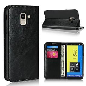voordelige Galaxy J3(2017) Hoesjes / covers-hoesje Voor Samsung Galaxy J7 (2017) / J6 (2018) / J5 (2017) Portemonnee / Kaarthouder / met standaard Volledig hoesje Effen Hard aitoa nahkaa