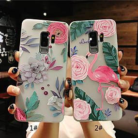 halpa Galaxy S -sarjan kotelot / kuoret-Etui Käyttötarkoitus Samsung Galaxy S9 Plus / S9 Himmeä / Läpinäkyvä / Koristeltu Takakuori Flamingo / Kukka Pehmeä TPU varten S9 / S9 Plus / S8 Plus