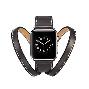 halpa Apple tarvikkeet-Watch Band varten Apple Watch Series 4 / Apple Watch Series 4/3/2/1 Apple Perinteinen solki Aito nahka Rannehihna