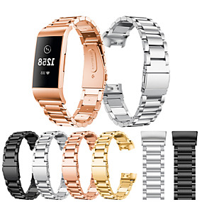billige Mobiltelefonstilbehør-Urrem for Fitbit Charge 3 Fitbit Sportsrem Rustfrit stål Håndledsrem