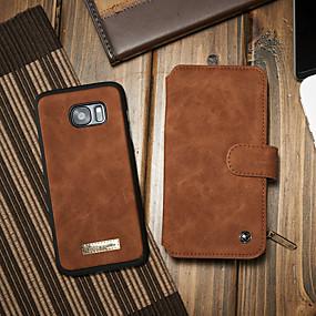 voordelige Galaxy S7 Edge Hoesjes / covers-hoesje Voor Samsung Galaxy S7 edge Kaarthouder / met standaard / Flip Volledig hoesje Effen Hard PU-nahka