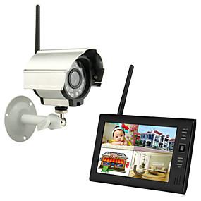 """billige Overvågning og sikkerhed-nye trådløse 4-kanals quad dvr 1 kameraer med 7 """"TFT-LCD-skærm hjem sikringssystem"""
