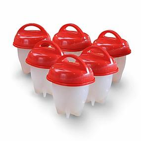 baratos Casa & Cozinha-6 pcs ovo de silicone fogão cozido sem shell cozinhar ferramentas