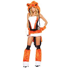 billige Daglige tilbud-Fox Girl Ulv Kvinder Kostume Voksne Dame Halloween Jul Jul Halloween Karneval Festival / Højtider Terylene Polyester Sort / Orange Karneval Kostume Dyr