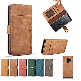 voordelige Galaxy S7 Edge Hoesjes / covers-hoesje Voor Samsung Galaxy S9 / S9 Plus / S8 Plus Portemonnee / Kaarthouder / Schokbestendig Volledig hoesje Effen Hard aitoa nahkaa