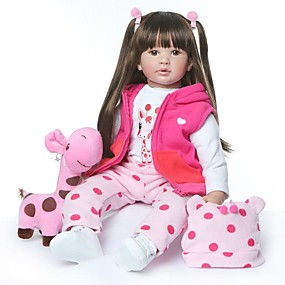 cheap Toy & Game-NPKCOLLECTION NPK DOLL Reborn Doll Girl Doll Baby Girl 24 inch lifelike New Design Artificial Implantation Brown Eyes Kid's Girls' Toy Gift
