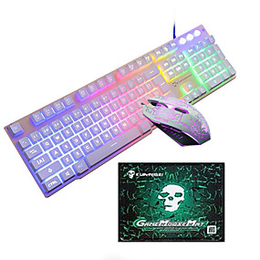 Χαμηλού Κόστους Ποντίκια και πληκτρολόγια-LITBest T6 USB Ενσύρματο Πληκτρολόγιο πληκτρολογίου ποντικιού Φορητά πληκτρολόγιο Gaming Φωτίζει Gaming Mouse / γραφείο του ποντικιού / εργονομικό ποντίκι 1600 dpi Ηλεκτρονικό Παιχνίδι
