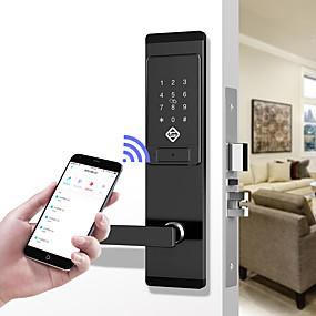 billige Dørlås-pineworld q201 smart dørlås / zink legering lås / adgangskode lås / fingeraftryk lås smart hjem sikkerhed ios / android system adgangskode oplåsning / mekanisk nøgle oplåsning / anti kig adgangskode