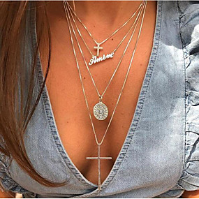 billige Lagvise halskjeder-Dame lagdelte Hals Chrome Gull 41.5 cm Halskjeder Smykker 1pc Til Gave Daglig Ferie Arbeid