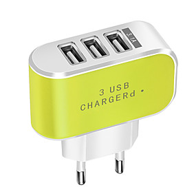 cheap Google-Portable Charger / USB Wall Charger EU Plug Normal 3 USB Ports 3.1 A DC 5V for Mobile Phone Tablet