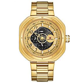 Недорогие Фирменные часы-NAVIFORCE Муж. Спортивные часы Наручные часы Японский Японский кварц Крупногабаритные Нержавеющая сталь Черный / Золотистый / Небесно-голубой 30 m Защита от влаги Календарь Крупный циферблат