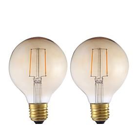 Χαμηλού Κόστους Λαμπτήρες LED με νήμα πυράκτωσης-2pcs- gmy g80 οδήγησε λαμπτήρα πυρακτώσεως 2w 220-240v οδήγησε μεγάλο μεγάλο βολβό με βάση e27 2200k ζεστό λευκό για υπνοδωμάτιο καθιστικό σπίτι καφέ διακοσμητικά