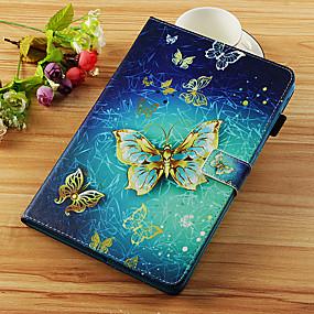 voordelige Galaxy Tab E 9.6 Hoesjes / covers-hoesje Voor Samsung Galaxy Tab S4 10.5 (2018) / Tab A2 10.5(2018) T595 T590 / Tab S2 9.7 Portemonnee / Kaarthouder / met standaard Volledig hoesje Vlinder Hard PU-nahka