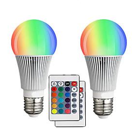 levne LED Smart žárovky-2pcs 10 W LED chytré žárovky 900 lm E26 / E27 A60(A19) 12 LED korálky Integrovaná LED Stmívatelné Dálkové ovládání Ozdobné RGBW 85-265 V / RoHs