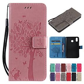 baratos Sony-Capinha Para Sony Sony Xperia 10 Plus / Sony Xperia 10 Carteira / Porta-Cartão / Com Suporte Capa Proteção Completa Sólido / Gato / Árvore Rígida PU Leather para Sony Xperia L3 / Sony Xperia 10
