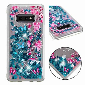 voordelige Galaxy S7 Hoesjes / covers-hoesje Voor Samsung Galaxy S9 / S9 Plus / S8 Plus Schokbestendig / Stromende vloeistof / Transparant Achterkant Glitterglans / Bloem Zacht TPU