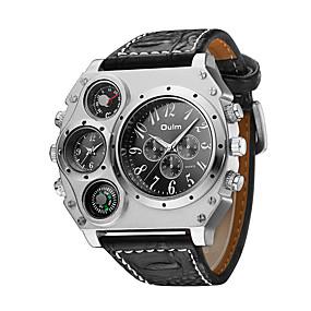 ieftine Ceasuri de Marcă-Oulm Bărbați Ceas Militar  Ceas de Mână Aviation Watch Quartz Quartz Japonez Supradimensionat Piele Negru / Maro Termometru Zone Duale de Timp  Cool Analog Negru Maro Doi ani Durată de Viaţă Baterie