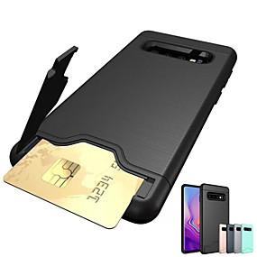 voordelige Galaxy S7 Hoesjes / covers-hoesje Voor Apple S9 / S9 Plus / S8 Plus Kaarthouder / Schokbestendig / met standaard Achterkant Schild Hard TPU / PC
