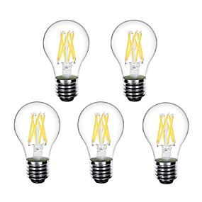 ieftine Becuri LED Glob-5pcs 4 W Bulb LED Glob Bec Filet LED 450 lm E26 / E27 A60(A19) 6 LED-uri de margele LED Putere Mare Decorativ Alb Cald 220-240 V 220 V 230 V / RoHs
