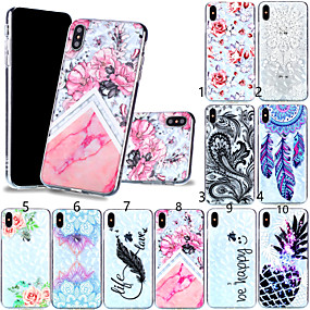 olcso iPhone tokok-Case Kompatibilitás Apple iPhone XR / iPhone XS Max Minta Fekete tok Tollak / Virág Puha TPU mert iPhone XS / iPhone XR / iPhone XS Max