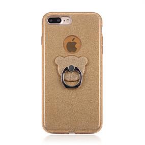 olcso iPhone tokok-Case Kompatibilitás Apple iPhone X / iPhone 6s Tartó gyűrű / Csillogó Fekete tok Egyszínű Kemény PC mert iPhone X / iPhone 8 Plus / iPhone 8
