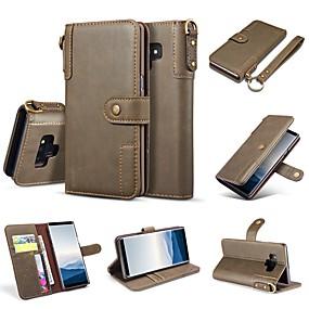 billige Mobiltelefonstilbehør-Etui Til Samsung Galaxy Note 9 / Note 8 Pung / Kortholder / Med stativ Fuldt etui Ensfarvet Hårdt ægte læder for Note 9 / Note 8