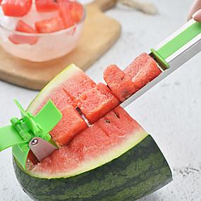billiga Köksredskap och -apparater-rostfritt stål l vattenmelon skivare frukt knivsnivar tang corer frukt melon grönsak verktyg kök prylar