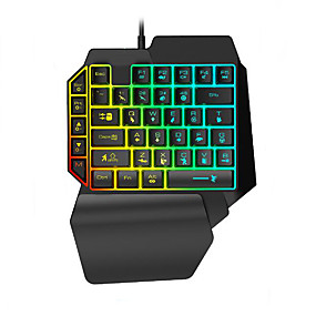 cheap Mice & Keyboards-LITBest K15 USB Wired Gaming Keyboard Mini Size Gaming Multicolor Backlit 35 pcs Keys