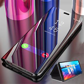 voordelige Galaxy S6 Edge Plus Hoesjes / covers-hoesje Voor Samsung Galaxy S9 / S9 Plus / S8 Plus met standaard / Beplating / Spiegel Volledig hoesje Effen Hard PU-nahka