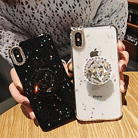 abordables Coques d'iPhone-Coque Pour Apple iPhone XS Max / iPhone 6 Strass / Avec Support / Brillant Coque Brillant Flexible TPU pour iPhone XS / iPhone XR / iPhone XS Max