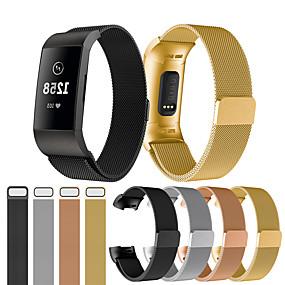 baratos Pulseiras para Fitbit-Pulseiras de Relógio para Fitbit Charge 3 Fitbit Pulseira Esportiva / Pulseira Estilo Milanês Aço Inoxidável Tira de Pulso