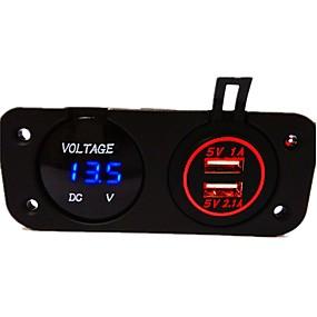 voordelige Autoladers-dc12v 3.1a waterdichte autolader tweegatspaneel met dubbele led usb-poorten led digitale display voltmeter vrachtwagen auto motorfiets stopcontact