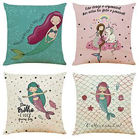 baratos Casa & Cozinha-Conjunto de 4 sereia padrão de linho quadrado decorativo lance fronhas capas de almofada sofá 18x18